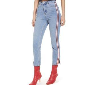 TOPSHOP Moto Denim Side Stripe Straight Jean